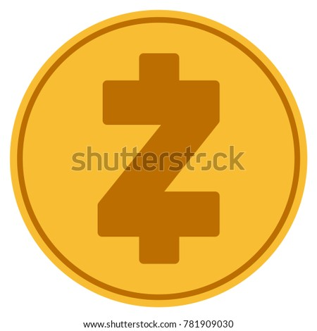 Zcash Golden Coin Icon Raster Style Is A Gold Yellow Flat Symbol