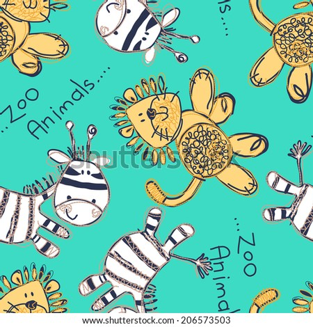 Zebra and lion seamless pattern with embroidery .