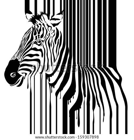 Zebra barcode illustration - stock photo
