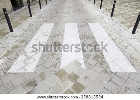 Zebra crossing on asphalt, detail signal on a highway, pedestrian - stock photo