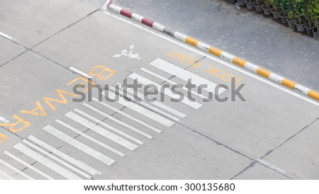 zebra crossing, on urban asphalt road for passenger or people and transportation at night time, top view - stock photo