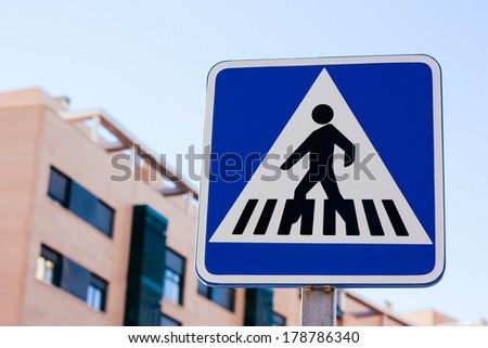 Zebra crossing road sign.