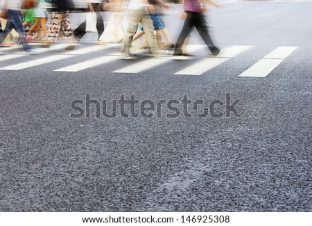 Zebra crossing with blur motion - stock photo
