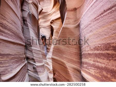 Zebra slot canyon, a remote sandstone slot canyon in Utah,  USA. - stock photo