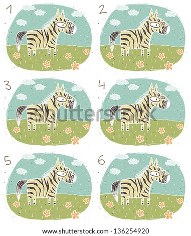 Zebra Visual Game for children. Task: Find two identical images (match the pair)! Answer: No. 1 and 4. (for vector see image 114653245) - stock photo