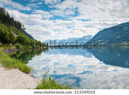 Zell Am See lake in Austria in the summer - stock photo