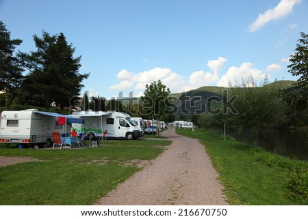 ZELL, GERMANY - SEP 3: Camping site at the Mosel river, in Rhineland-Palatinate. September 3, 2011 in Cochem-Zell, Germany