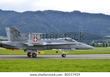 ZELTWEG, AUSTRIA - JULY 01: McDonnell Douglas F18 Hornet from the Swiss army by airshow - airpower11 -  on July 01, 2011 in Zeltweg, Austria