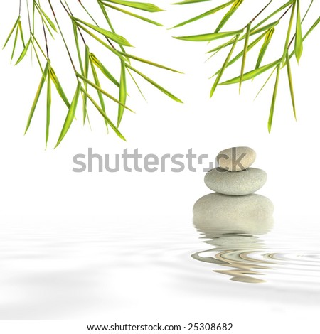 Zen abstract of gray spa stones in perfect balance and bamboo leaf grass with reflection over rippled water, against a white background. - stock photo