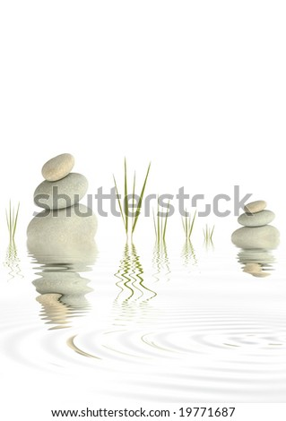 Zen abstract of  grey spa stones with bamboo grass and reflection  in rippled  water, over white background. - stock photo