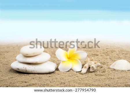 Zen and spa concept on the beach. Stack of white stone, plumeria flower, coral and shell on sand background - stock photo