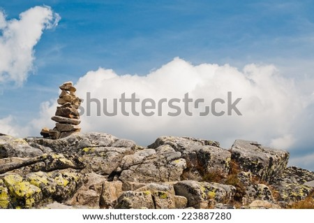 Zen balanced stones stack in high mountains - stock photo