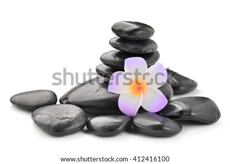 zen basalt stones and Frangipani  isolated on white - stock photo