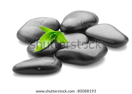 zen basalt stones and leaves on the white background