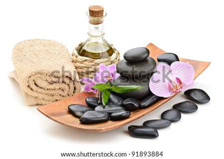 zen basalt stones and sea salt on the white - stock photo