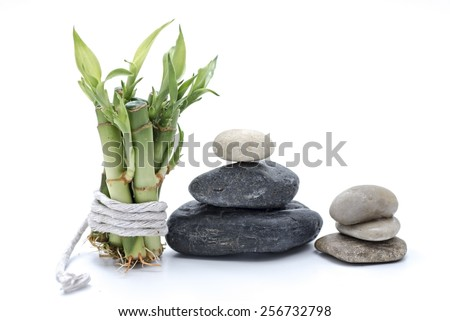 zen basalt stones  isolated on white - stock photo