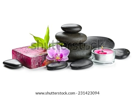 zen basalt stones,soap and orchid isolated on white - stock photo