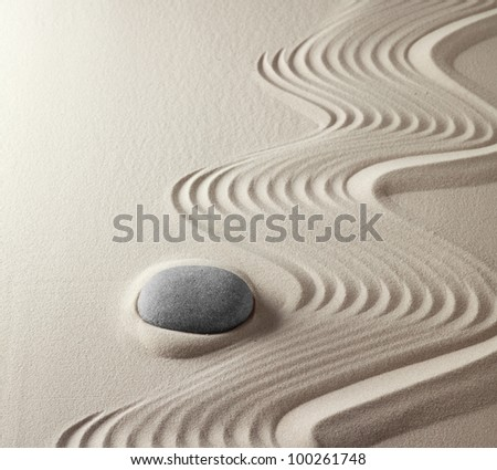 zen buddhism spiritual japanese rock garden abstract harmony and balance concept for purity concentration spirituality meditation tao spa therapy relaxation sand and stone - stock photo