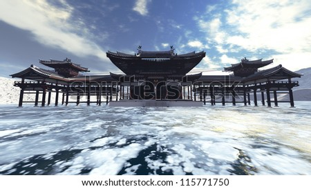 Zen buddhism temple in ice - stock photo
