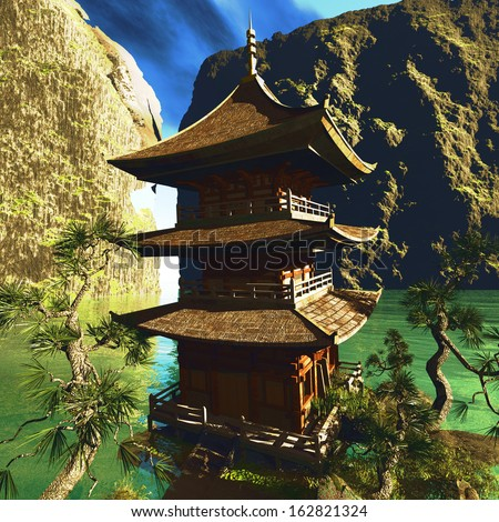 Zen buddhist temple in the mountains - stock photo