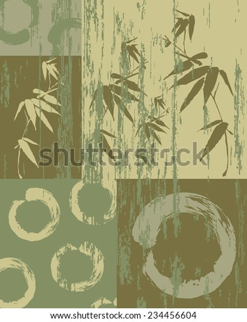 Zen circle and bamboo silhouette over vintage green texture poster background. Decorative oriental art patchwork. - stock photo