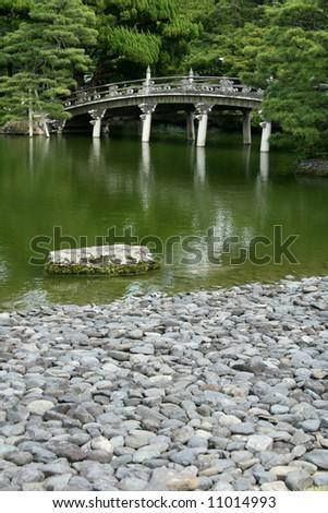 Zen Garden - Imperial Palace, Kyoto, Japan - stock photo