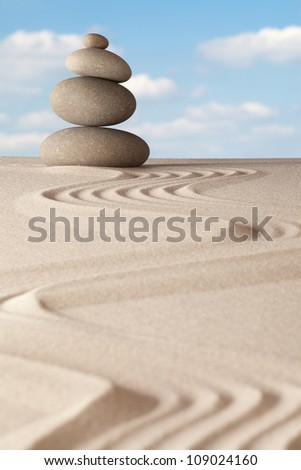 zen garden , meditation and harmony, relaxation and balance concentration as a ritual in Japanese culture - stock photo