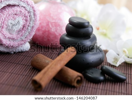 zen hot stone, relax concept and dried sticks of vanilla