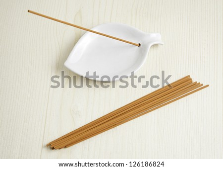 Zen Incense, aromatic product detail relaxation, oriental and decorative background - stock photo