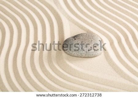 Zen. Japanese ZEN garden with stacked stones in sand - stock photo