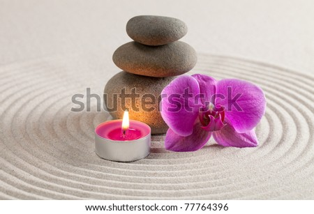 Zen-like stack of stone - stock photo