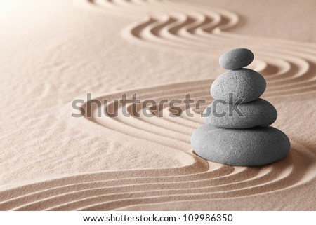 zen meditation garden, relaxation and meditation through simplicity harmony and balance lead to health and wellness, spirituality and concentration background with copy space - stock photo