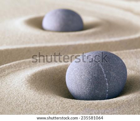 zen meditation stone balance and harmony sheng fui and tao buddhism - stock photo