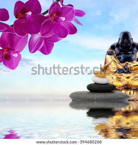 Zen or Feng-Shui background-Zen stones,orchid flowers and  Laughing Buddha reflected in water - stock photo