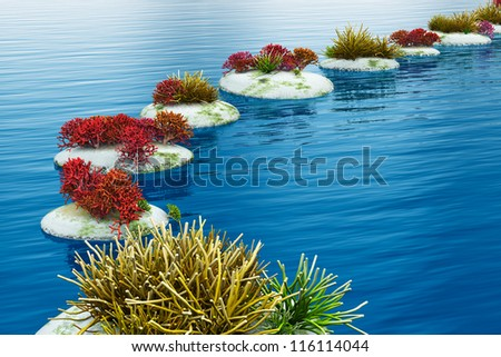 Zen path from pebble stones across blue water surface - stock photo