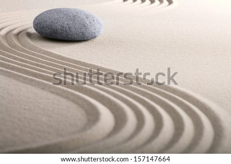 zen sand stone garden japanese meditation relaxation and spa image spiritual balance round rock - stock photo