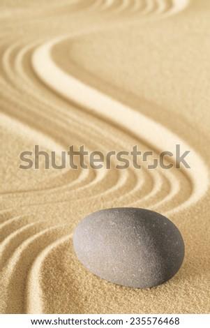 zen sand stone garden sheng fui japanese meditation relaxation and spa image spiritual balance round rock - stock photo