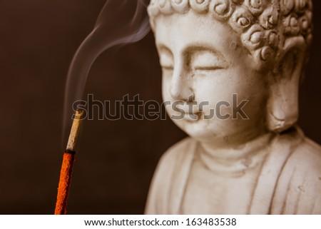 Zen - Smoke Meditation with Buddha - stock photo
