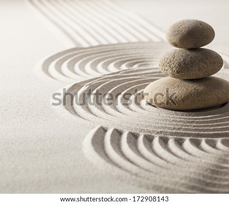 zen stillness and wellness with sand and stones garden