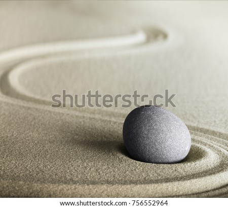 zen stone and sand meditation garden. Spa wellness background for relaxation, harmony, balance and spirituality.