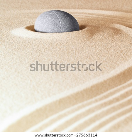 zen stone background sand lines for balance relaxation and meditation concept for purity spirituality serenity calmness peaceful harmony simplicity relax copyspace - stock photo