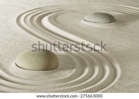 zen stone garden meditation rock for balance purity and serenity in relaxation. Tao buddhism, spa wellness treatment - stock photo