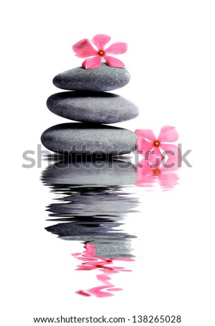 Zen stone with flower in Spa concept - stock photo