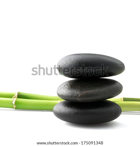 zen stones and bamboo  - stock photo
