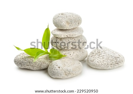 zen  stones and bamboo isolated on white - stock photo