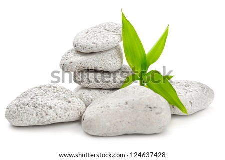 zen  stones and bamboo on the white - stock photo
