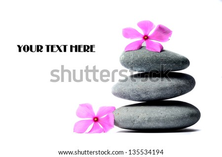 Zen stones and flower - stock photo