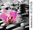 zen stones and pink orchid in the water - stock photo