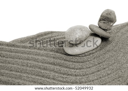 zen stones and sand on a white background - stock photo