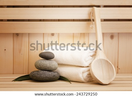 zen stones and sauna accessories, spa background - stock photo
